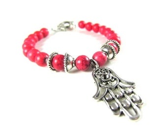 Red Turquoise Spiritual Beaded Bracelet with Hamsa Hand-Rare and Healing