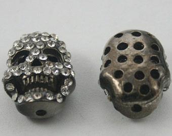 2 pcs. Black Zinc Skull Head Rhinostone Bead Charms Pendants Findings 15 mm. BD SK15 BC