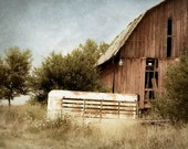Country Barn Photograph red old rustic animal white farm abandoned wood western
