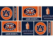 Auburn University Collegiate Logo Cotton Fabric 1 Yard Grid Logo/Clocktower Pattern AU-097