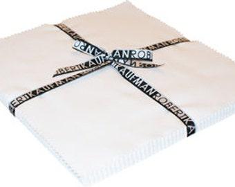 "Kona Cotton Solid Ten Squares by Robert Kaufman Fabric -White 42 pcs - 10"" x 10"" squares (TEN-122-42)"