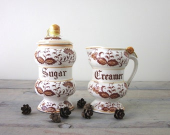 Brown Onion Sugar and Creamer Set
