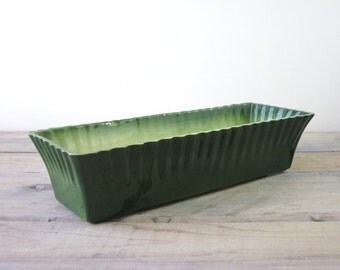 Vintage Signed Green Pottery Planter