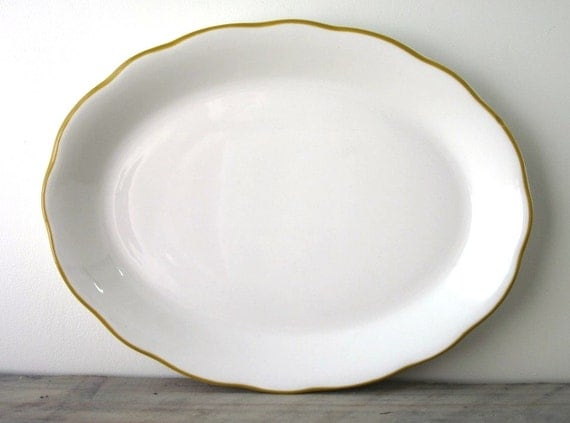 White Buffalo China Platter with Yellow Trim Restaurant Ware RESERVED FOR JENN