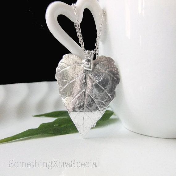 Heart Leaf Silver Necklace, Silver Leaf Pendant, Silver Necklace