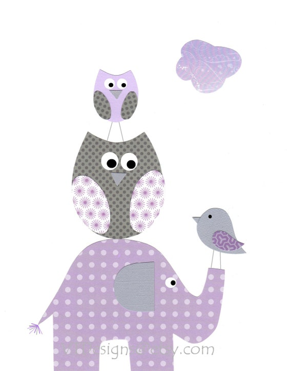 Items similar to kids wall art nursery decor baby girl room decor elephants owls bird - Girl owl decor ...