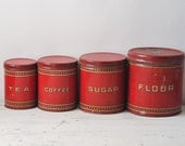 Vintage Red Canister Set - 1930's Metal Set - Flour Coffee Tea Sugar