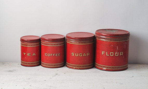 Vintage Red Canister Set - 1930's Metal Set - Flour Coffee Tea Sugar