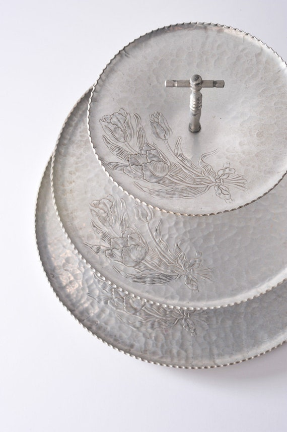 Vintage Hammered Aluminum Three Tiered Tray With Floral