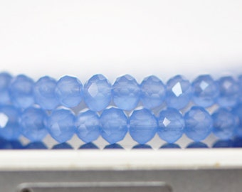Faceted Rondelle Glass Beads 3x4mm Blue 95pcs / (BZ04-28)