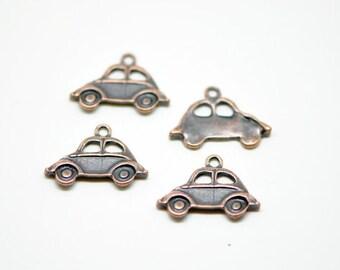 30Pcs Beetle Car Charms Antique Copper tone -10204