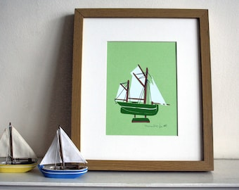 Green Boat Limited Edition Screen Print - Art Print - Hand Pulled Print