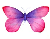 pink with purple butterfly painting archival print