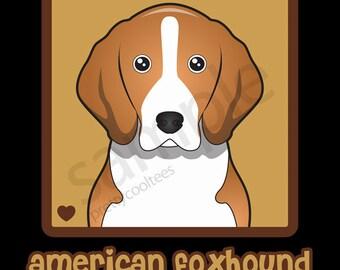 American Foxhound Cartoon Heart T-Shirt Tee - Men's, Women's Ladies, Short, Long Sleeve, Youth Kids