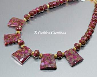 SALE! Magenta Pink Statement Necklace Mosaic Quartz Fuchsia Pink Gemstone, Chunky Gold Gemstone Necklace