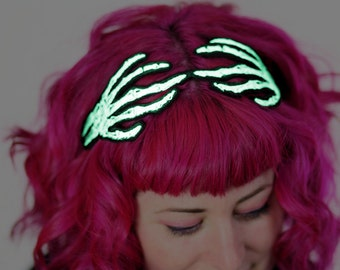 Glow in the Dark Skeleton Hands Headband, Wired Hair Band