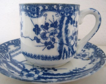 Vintage tea cup and saucer-small and delicate, indigo blue and white