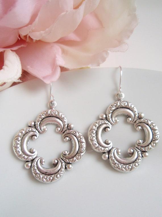 Medium Silver Quatrefoil - Bohemian Earrings