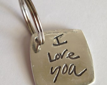 Memorial Keychain in Your Actual Loved Ones Writing-Silver