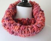 Hand Knit neckwarmer-Orange, Purple, Pink