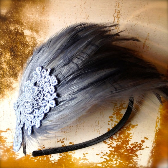 Blue Jean Grey Feather Fascinator. A chic classic with a touch of lace. Ready to ship next day.