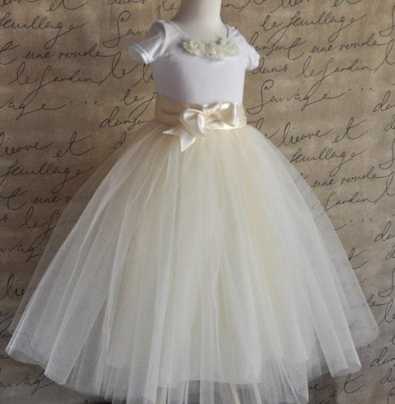 Flower Girl full length tutu skirt with satin lining and ribbon sash waist. Sewn, no tied knots.