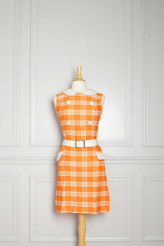 Dress Shift Mod Plaid 60s Orange Mad Men Go Go Peter Pan Collar Vintage Small S