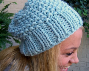 Chunky Knit Light Blue Hat, Made to Order Blue Slouch Hat, Chunky Knit Blue Slouch Beanie, Knit Slouchy Toque in Pale Blue Hand Knit Hat