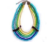 Statement Necklace, Maasai Tribal Inspired Neon Ombre Handmade Necklace in Blue, Green, Yellow, Ivory
