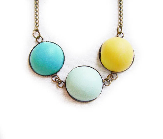 Pastel Bubble Necklace - Three Bubbles in Mint, Turquoise and Yellow  - Simple Geometric Handmade Polymer Clay Cabochon Necklace