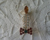 Vintage Rhinestone Christmas Burning Candle Pin or Pendant