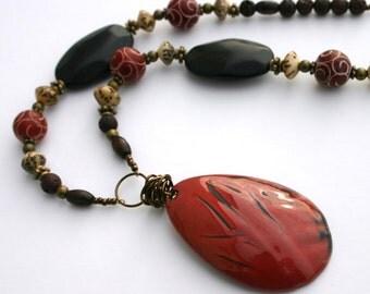 Orange Red Necklace, Enameled Copper