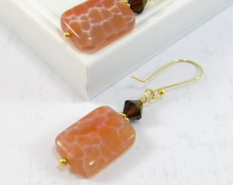 Peach Earrings, Gold Earrings, Dangle Earrings, Crab Agate, Swarovski Crystals, Orange, Brown, Tangerine, Chocolate, Fall Fashion