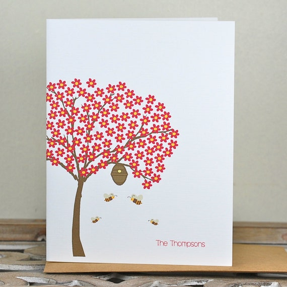 Bee, Bee Thank You Cards, Bee Stationery, Stationary, Thank You Cards, Bee Hive, Bees, Tree