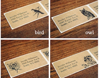 Custom Return Address Labels - Five Sheets (120 Labels), Brown Kraft Address Labels, Bird Owl or Floral, Rustic Wedding