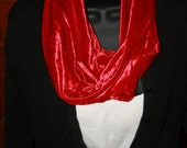 Red Velvet Scarf -infinity- Christmas - Washable - Fashionista Scarf - Cowl Scarf - Holiday - Circle Scarf - Vintage Inspired - Classic
