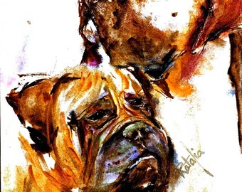 Mastiff and Bull Mastiff Watercolor dog Prints SIGNED by the Atrist Carol Ratafia DOUBLE MATTEDN to 16x20