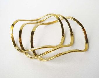 gold bangle bracelets statement bracelets 24K gold plated bronze wavy bangle bracelets set of 3