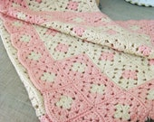Baby Blanket , Crochet , Handmade , Throw , Pink , Crocheted , Baby Blanket , Baby Wrap , Pink and White , Textiles , Made By Hand , Knitted