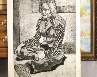 Vintage Original Fine Art Female Portrait Print, Unframed  Etching , Print 1978 , Portraiture , Girl , Art , Vintage Art, Black and White