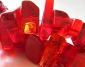 Quartz Beads 20 x 12mm  Semi Translucent Cherry Red Quartz Smooth Free Form Shards - 8 Pieces