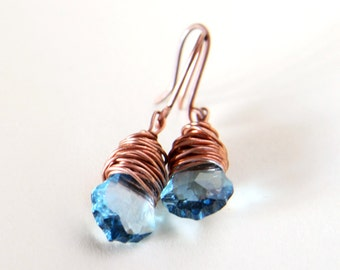 aquamarine swarovski crystal earrings - wire wrapped in copper - CHOOSE YOUR COLOR
