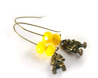 mini robots earrings - neon yellow beads - geek scifi funny