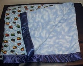 Crib Blanket  Train and Cloud , cotton, 4 foot by 6 foot double sided with batting..