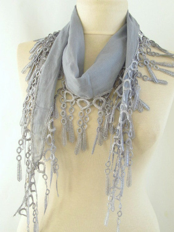 Fabric Fringed Grey Guipure  Scarf-Gift ..shawl,authentic, romantic, elegant, fashion