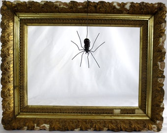 Wee Dangly Czechoslovakian Black Purple Glass Spider Repurposed Art