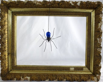 Wee Dangly Czechoslovakian Blue Glass Spider Repurposed Art