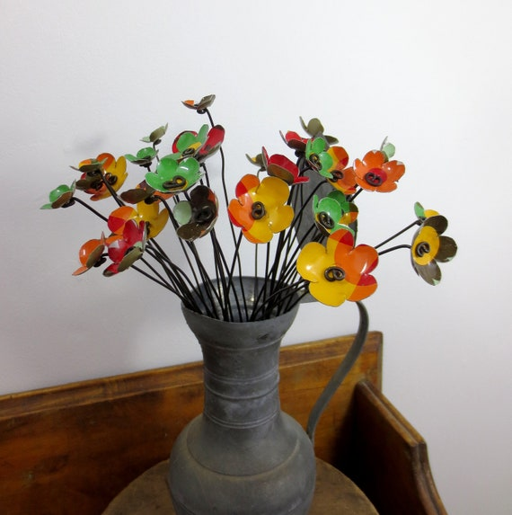 Bright Colorful Bouquet of 33 Metal Flowers Makes Beautiful Centerpiece