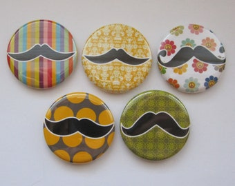 Magnets set of 5 button  mini 1 inch or 1.25 inch funny mustache magnets you choose the size