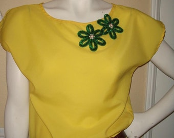 oN sALe/oN sALe/WALKING ON SUNSHINE Neon Yellow Silk Camisole Blouse cap sleeves size Small